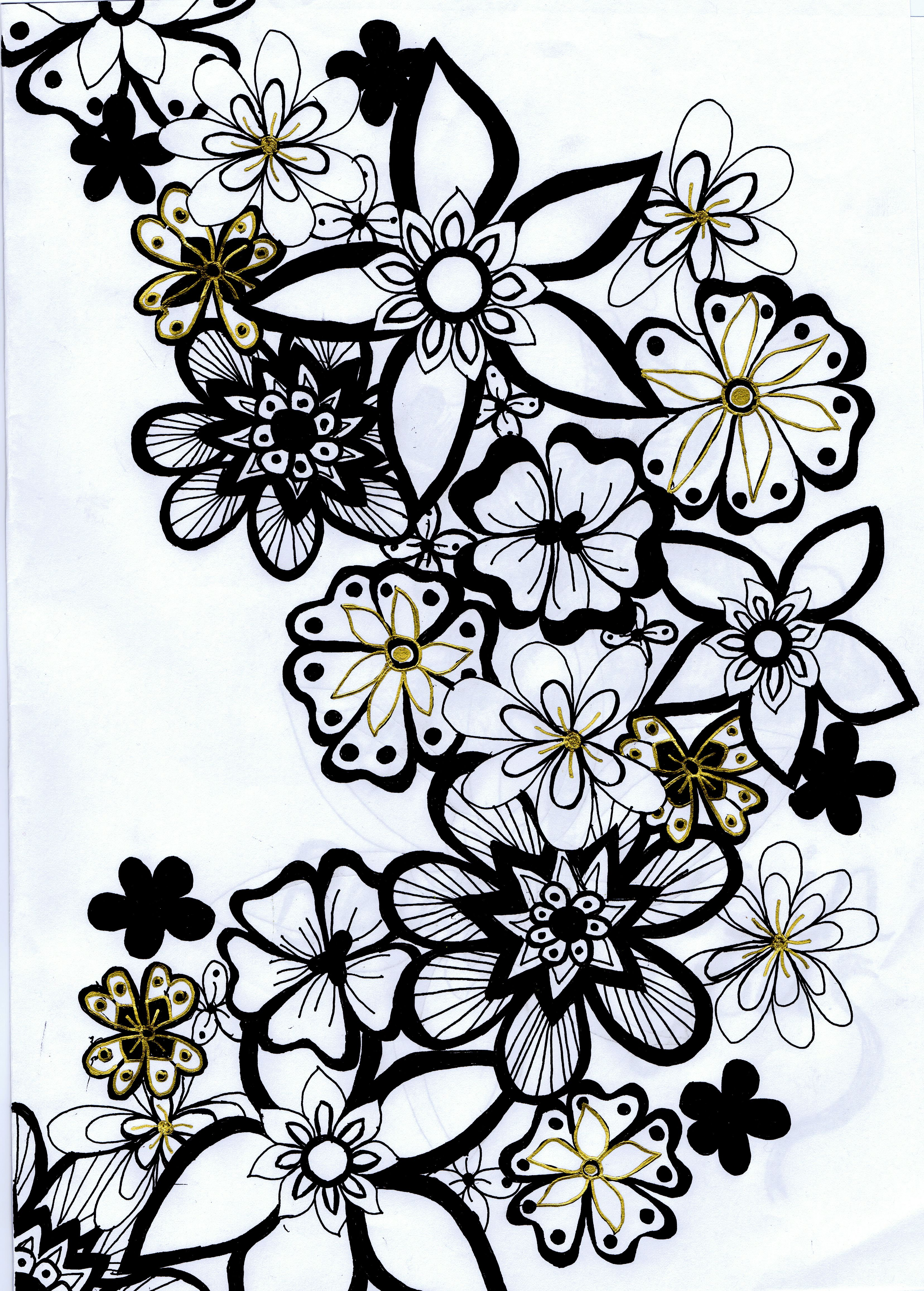 Black And White Flower Drawings Ukrandiffusion