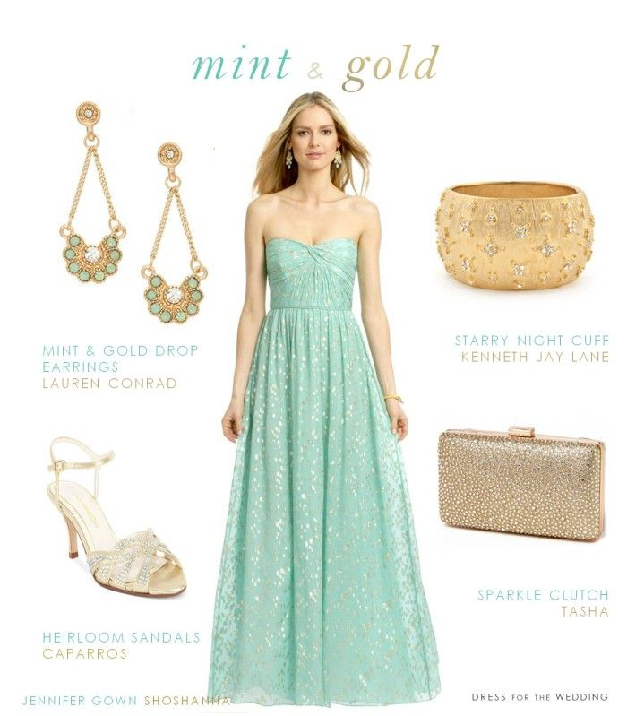 Mint and Gold Dress for Bridesmaids www.dressforthewedding.com