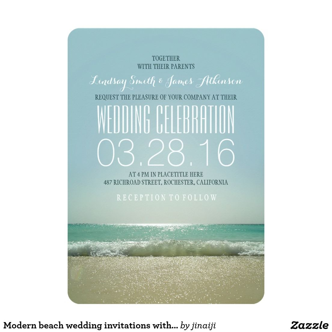 Modern beach wedding invitations with teal sea | Beach wedding ...