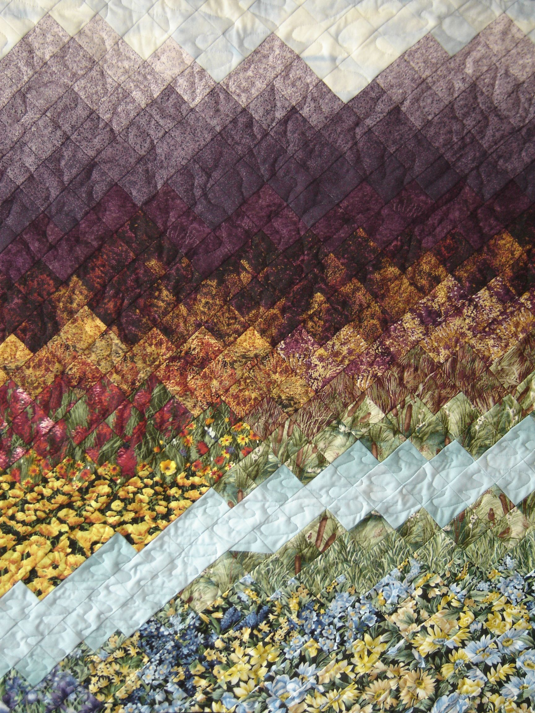 Wow Watercolor Effect With A Lovely Quilt Design This Landscape