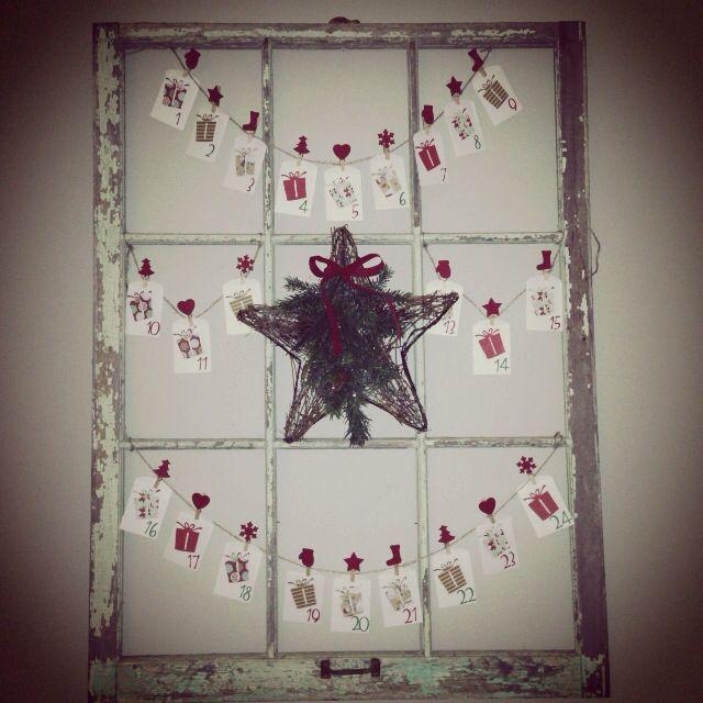 Christmas Advent Calendar idea(use an old window).