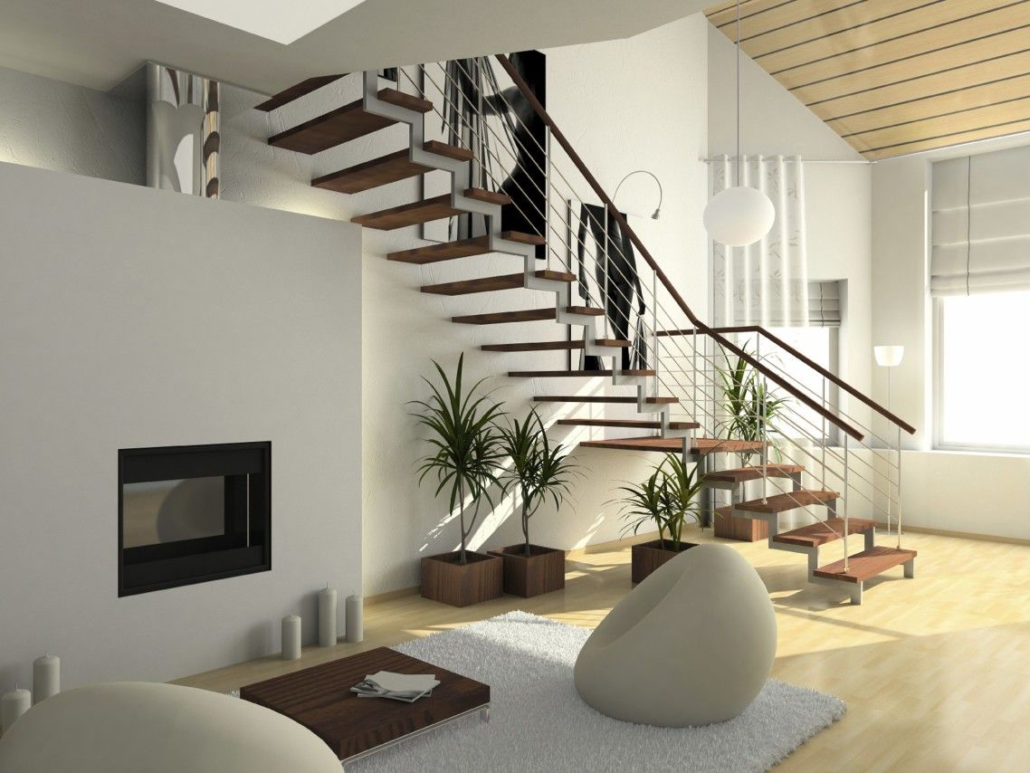 Excellent interior ultra modern house design with stairway and big windows also