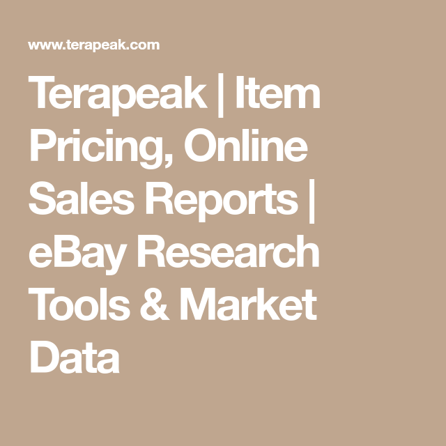 Terapeak Item Pricing Online Sales Reports Ebay Research Tools Market Data
