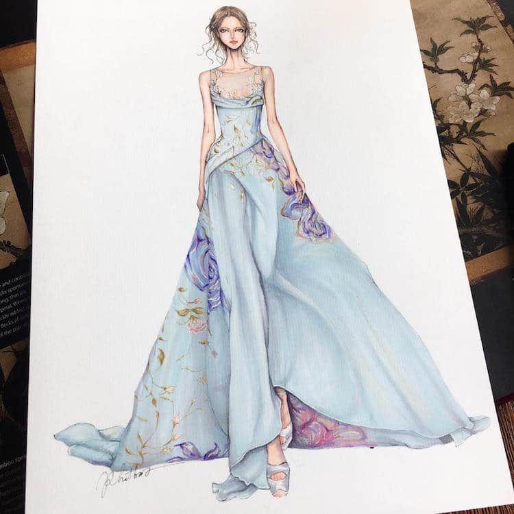 Fashion Designer Illustrates Gorgeous Gowns In Enchanting Detail Fashion Illustration Dresses Fashion Illustration Sketches Dresses Fashion Design Sketches