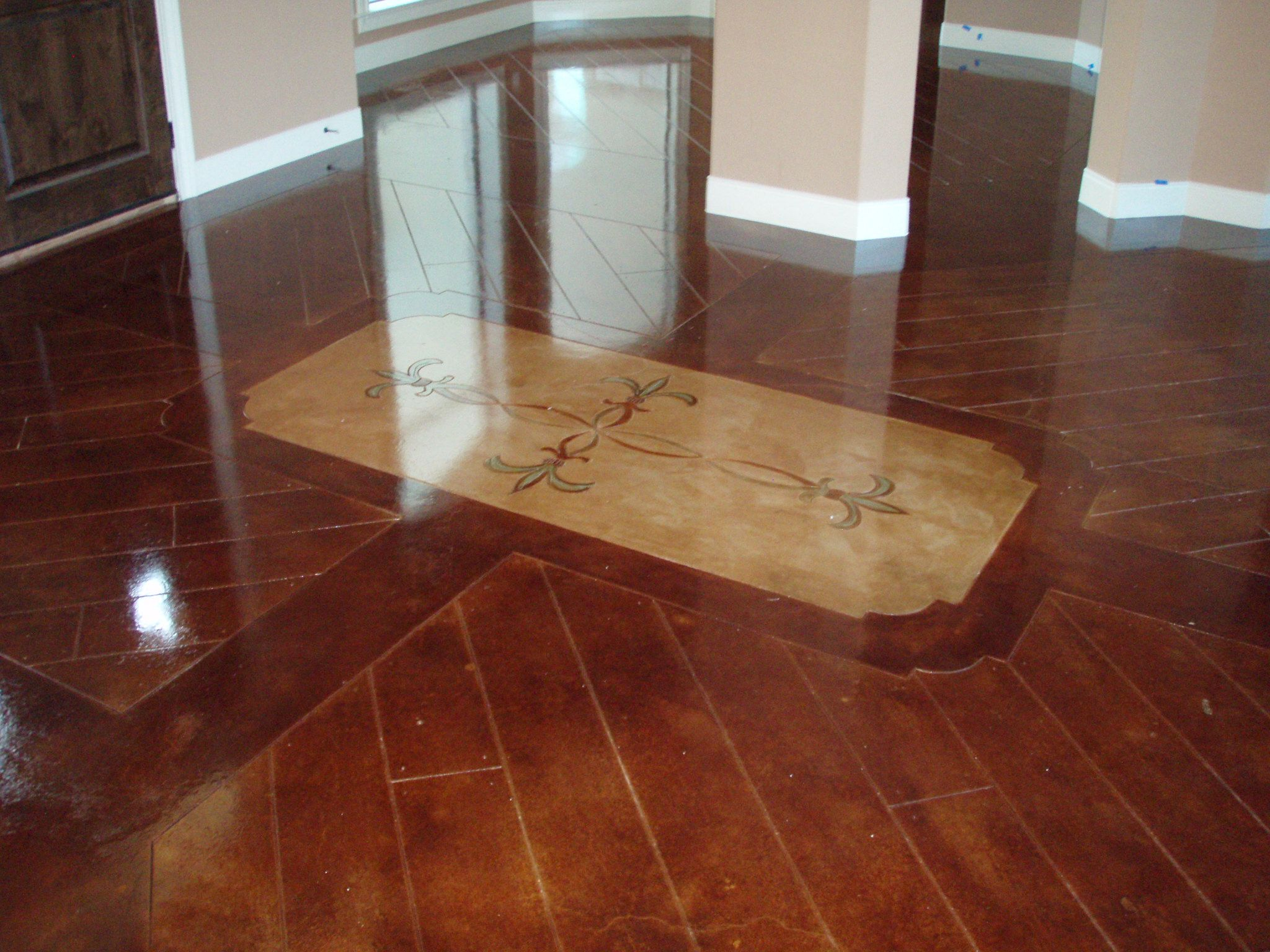 Like this color scored and stained concrete floors for Flooring for concrete