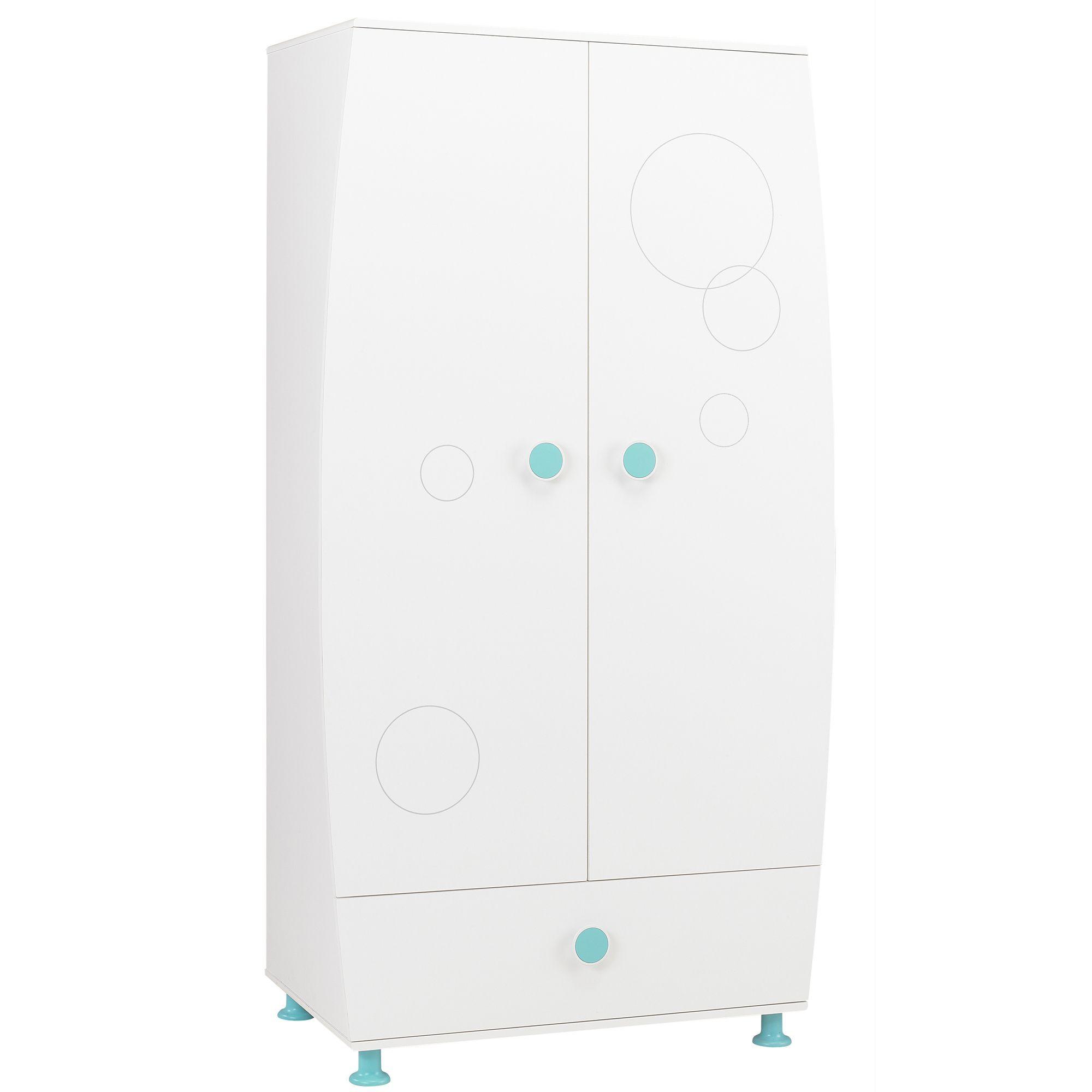Armoire enfant 2 portes et 1 tiroir (bleu ou rose) Blanc - Leo et ...