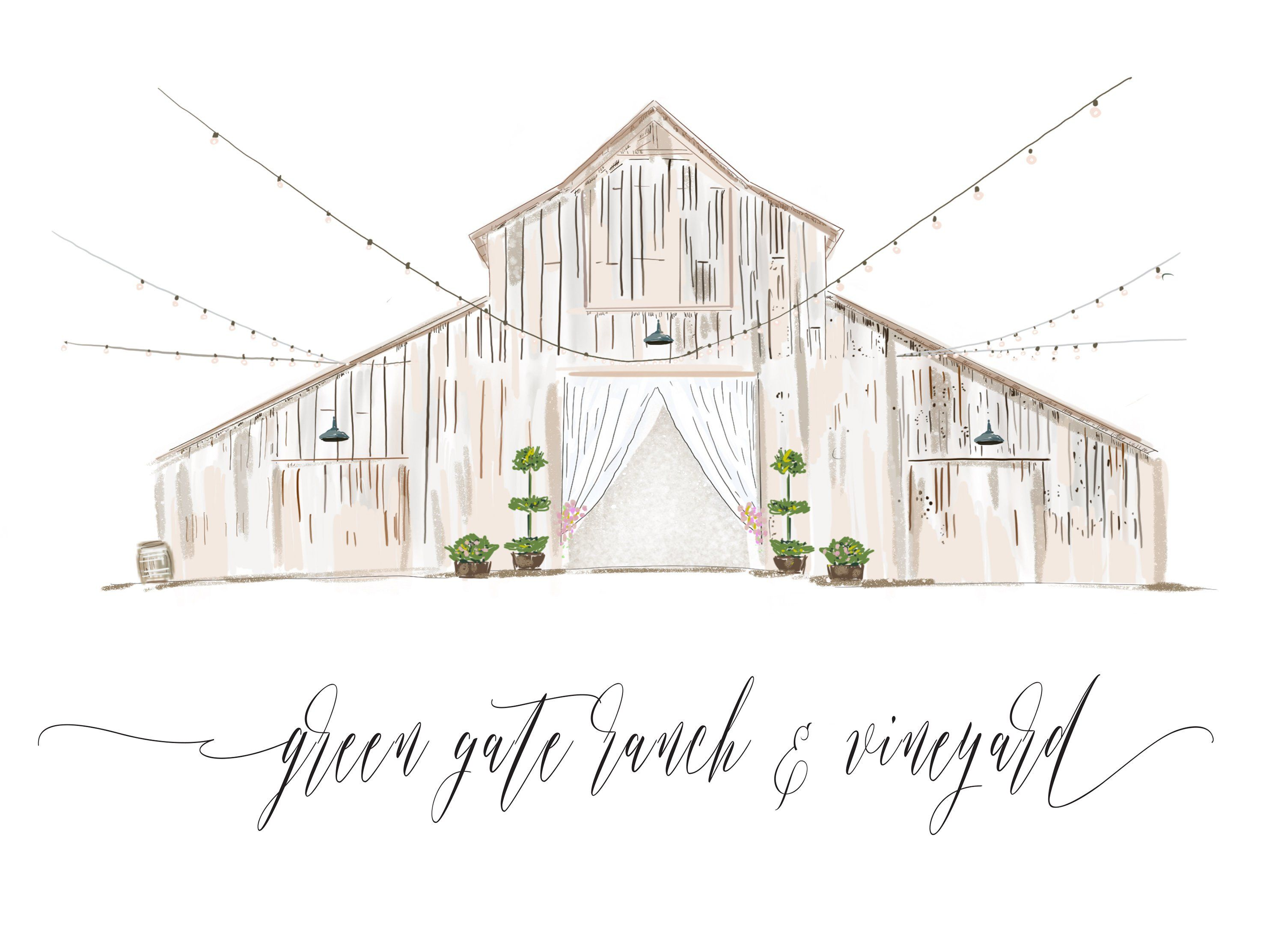 Watercolor Wedding Venue Illustrated Wedding Invitation Custom