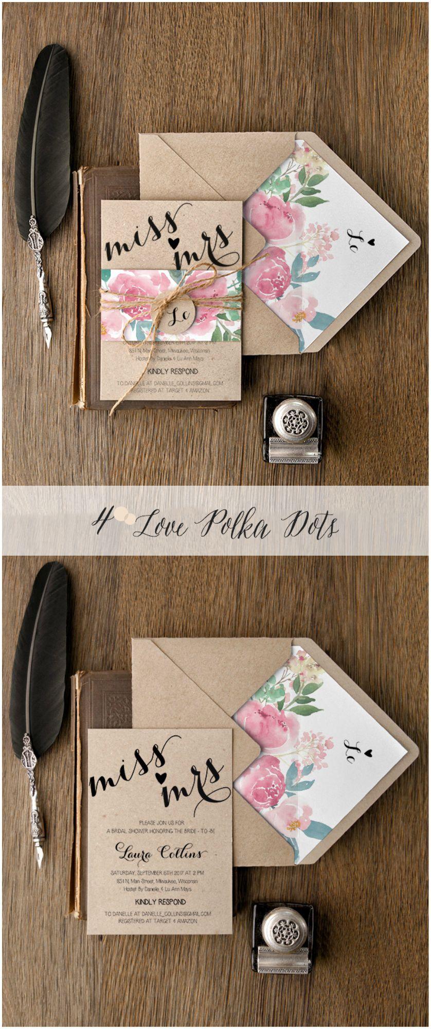 53605f59624c Eco Rustic floral Bridal Shower invitations  sponsored