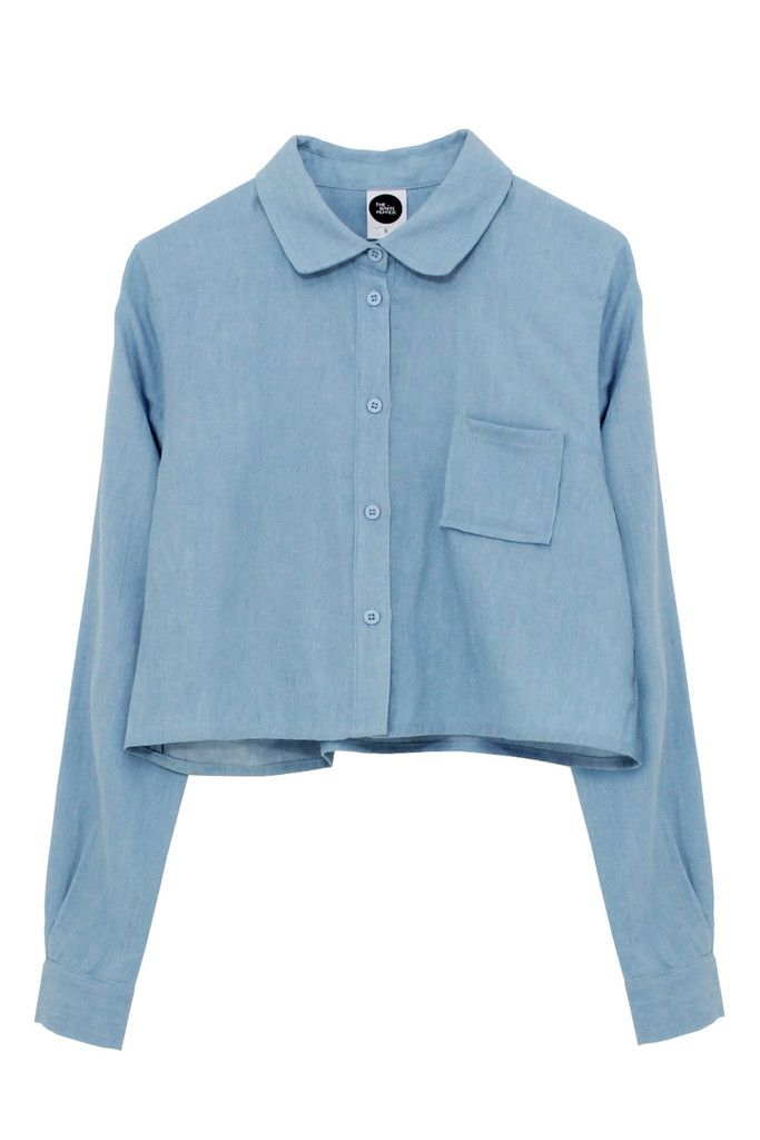 Long Sleeve Crop Shirt Denim