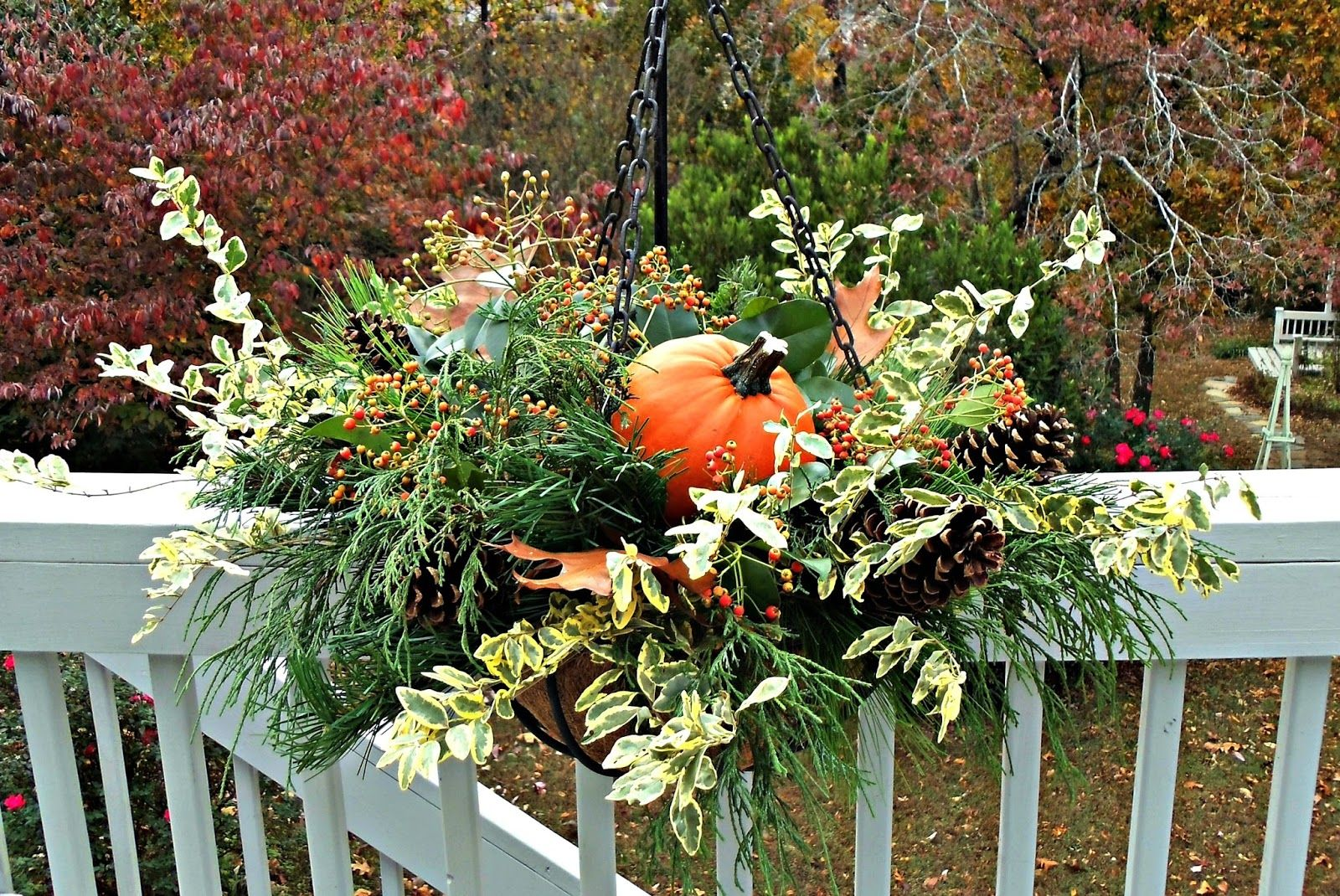 Super Cute Fall Hanging Basket Idea Complete With A Pumpkin Few Swaps And You Could Easily Turn This Into Winter One