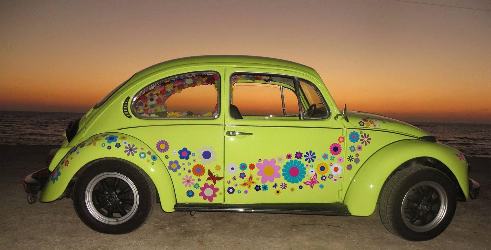 VW Beetle Flower Vinyl Car Stickers By Hippy Motors Httpwww - Custom vinyl car decals uk