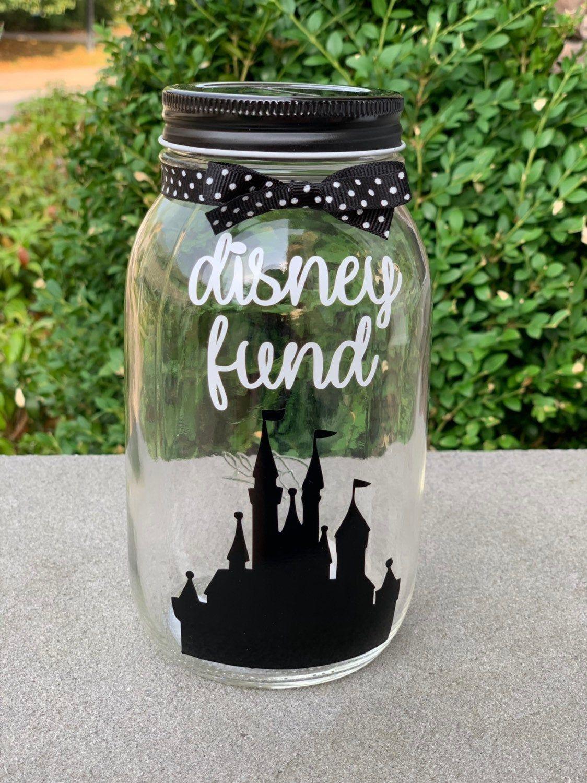 Disney Fund Mason Jar Bank Etsy In 2020 Disney Savings Jar Disney Money Jar Mason Jar Bank