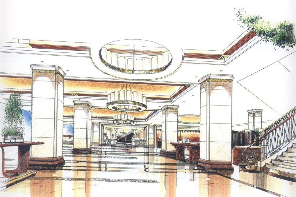 Lobby Design Sketch Hotel Interior Design Pinterest