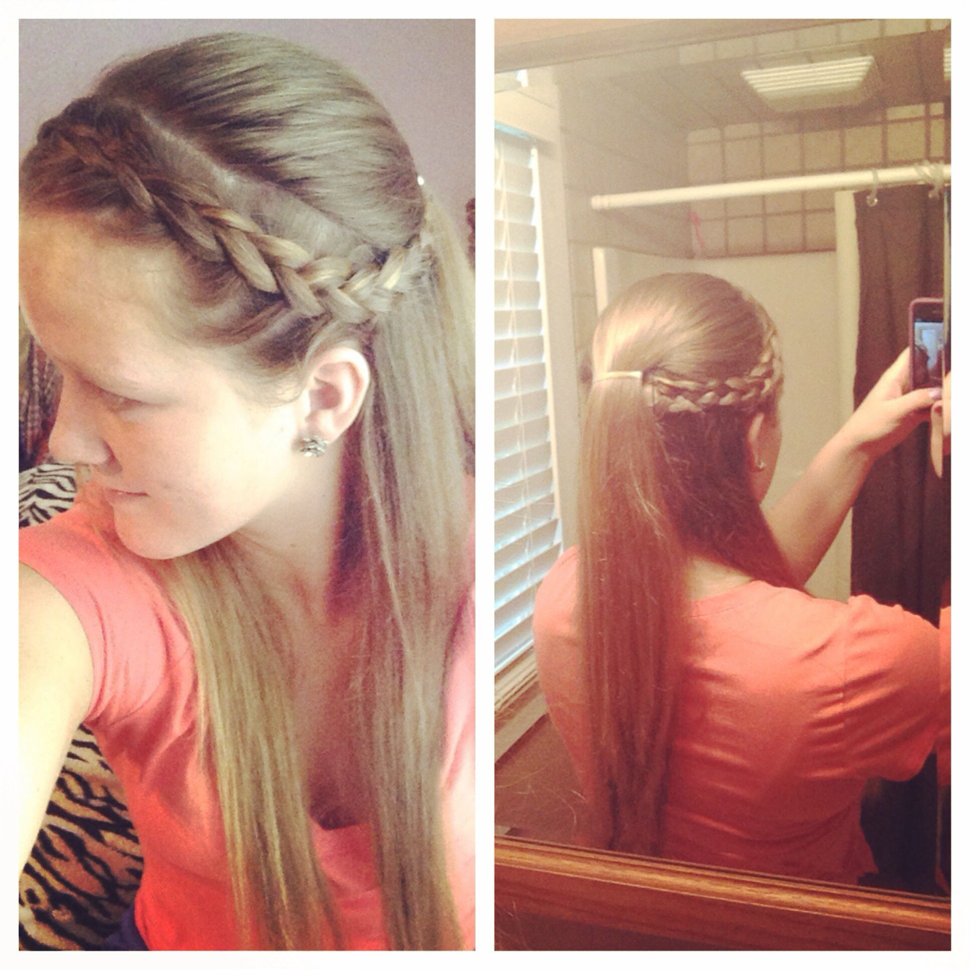 Braided my bangs and pulled them back to tuck on the teased part of