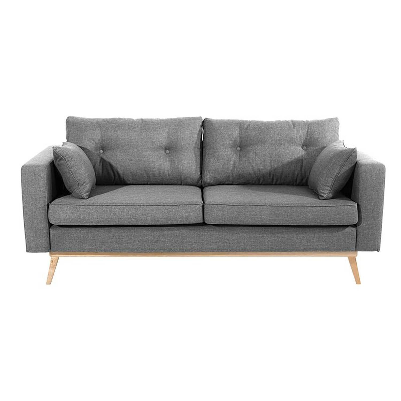 Sofa 3 Sitzer 2 Geteilt Tomme 23 Flachgewebe Leinenoptik Farbe Grau Sitzharte Mittel B 200cm T 90cm H 85cm Kunstleder Sofa Schwarzes Sofa Sofa