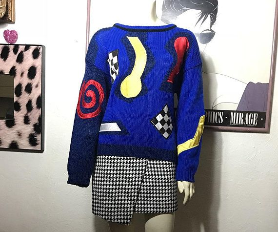 Vtg 1980s Spice Of Life Abstract Sweater Unisex Blue Knit Pullover