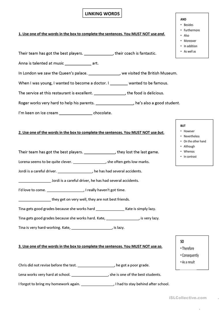 small resolution of Image result for printable worksheets on connectives teacherphil   Linking  words