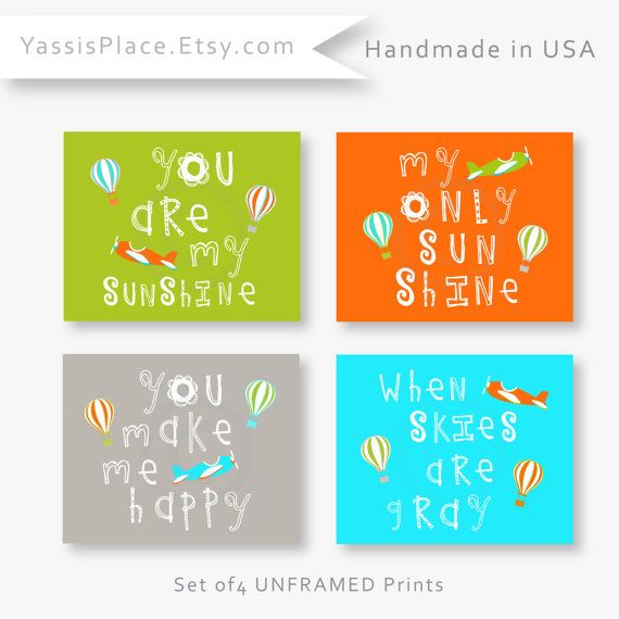 You are my sunshine art prints - Orange, Green, Gray and Aqua Nursery Decor with airplanes and hot air balloons.    You are my Sunshine, My only