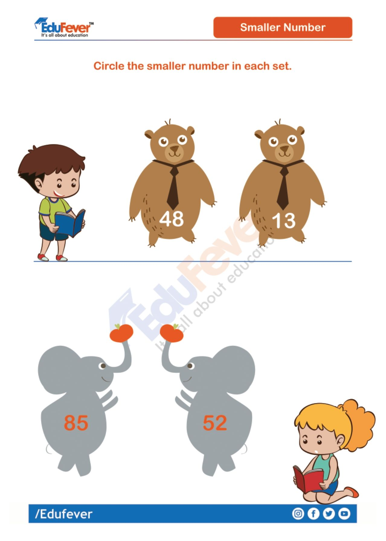 Circle The Small Number Ukg Maths Worksheet In