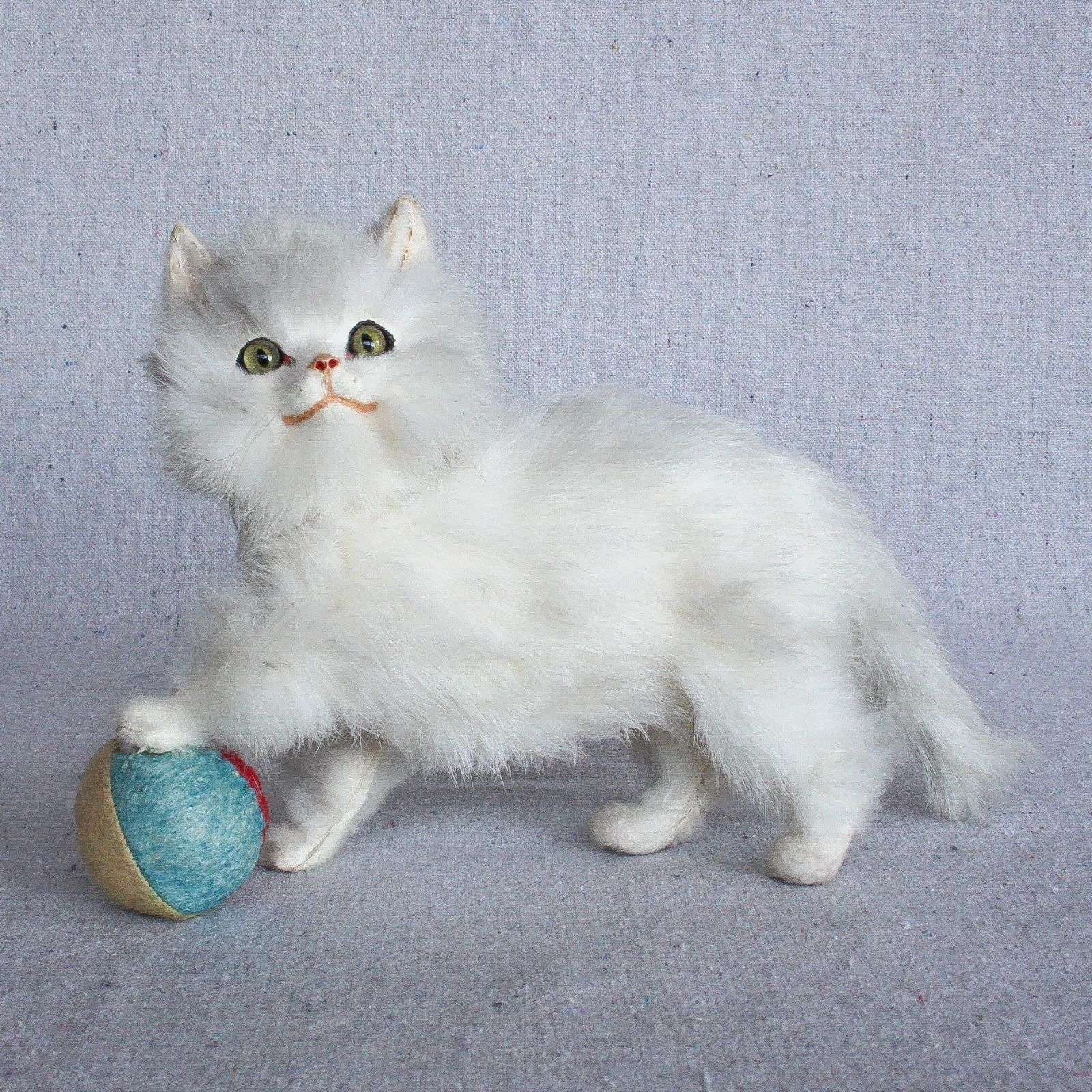 Antique German Kitten Cat Kitty Candy Container Rabbit Fur Leather Glass Eyes Ebay