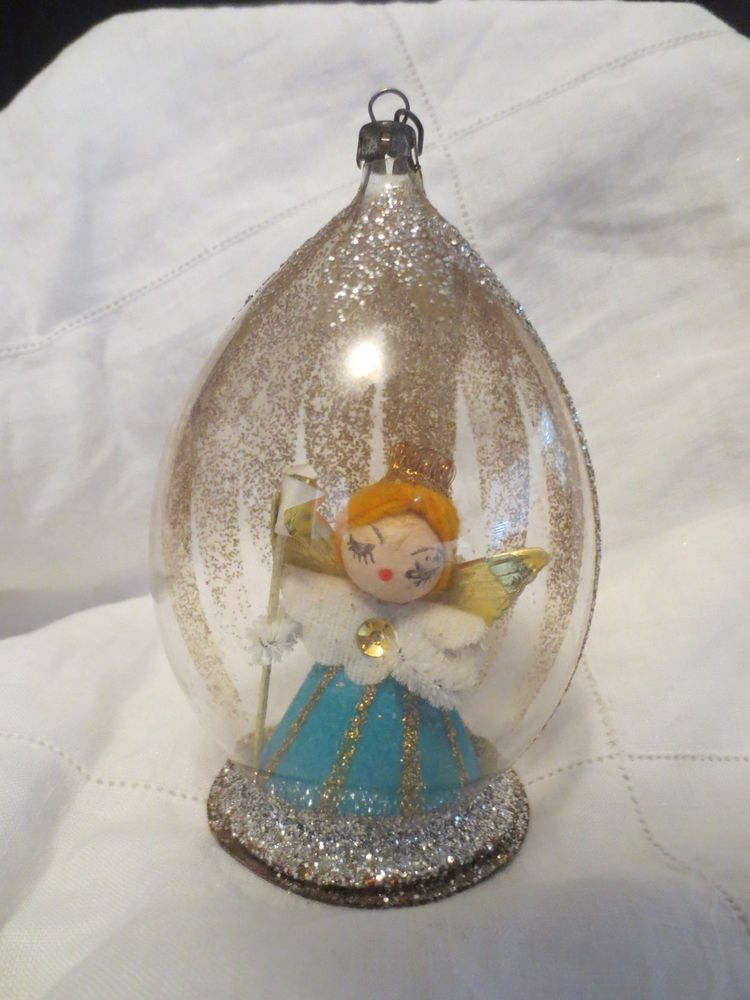 Vintage Diorama Spun Cotton Angel Ornament W Mica Glitter Japan