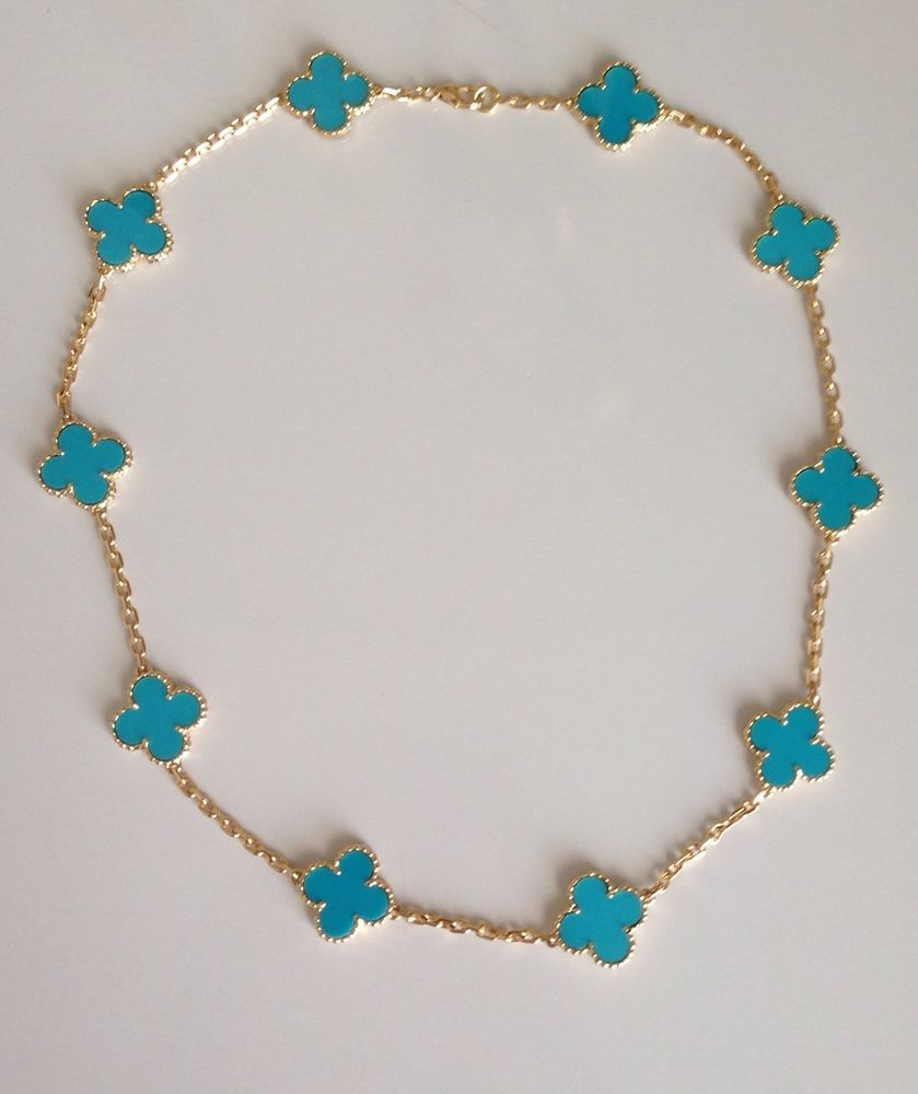 Van Cleef Arpels 18k Yg Alhambra 10 Motif Turquoise Necklace Turquoise Necklace Necklace Four Leaf Clover Necklace