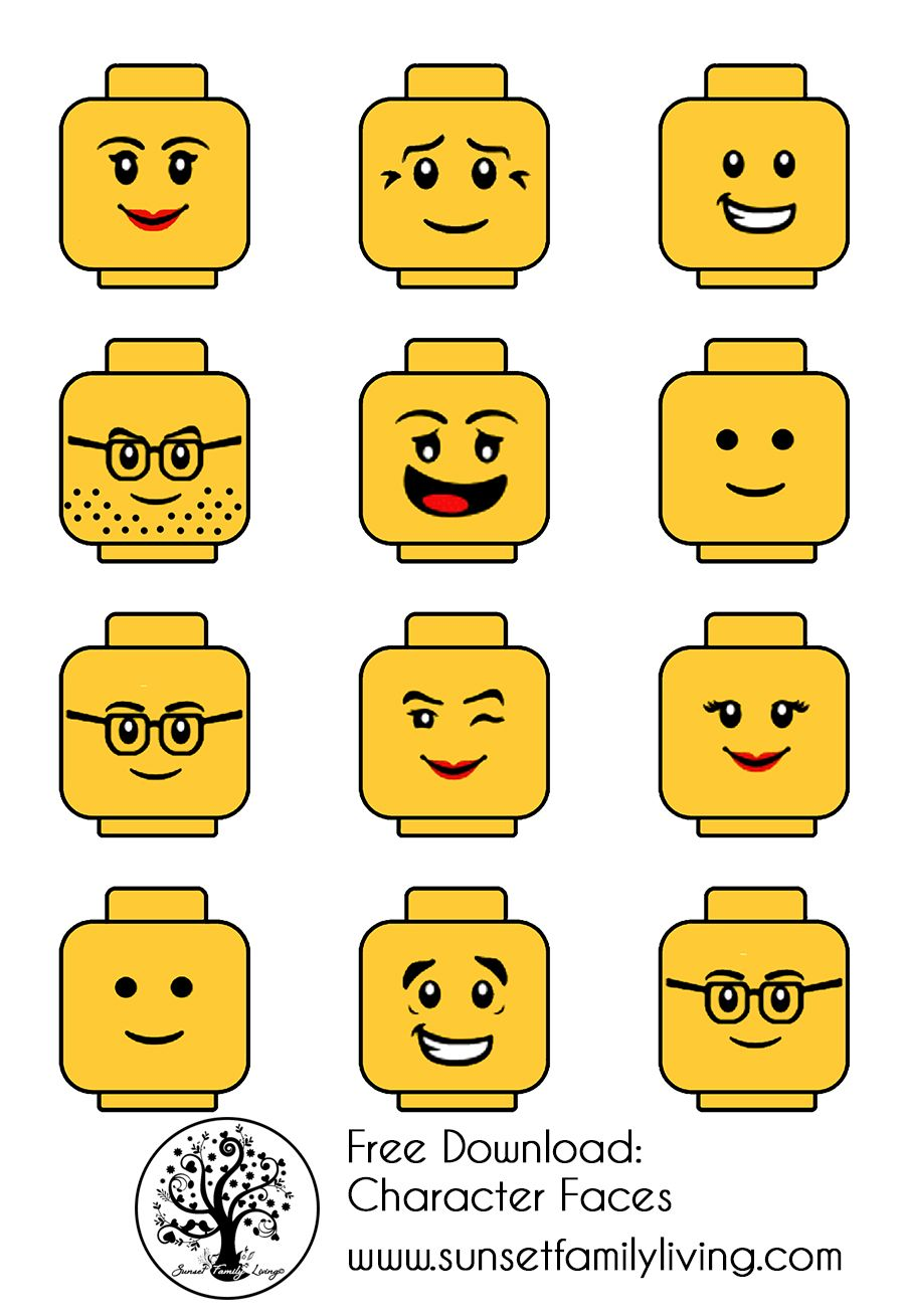 Lego faces lego party in 2018 for Lego minifigure head template