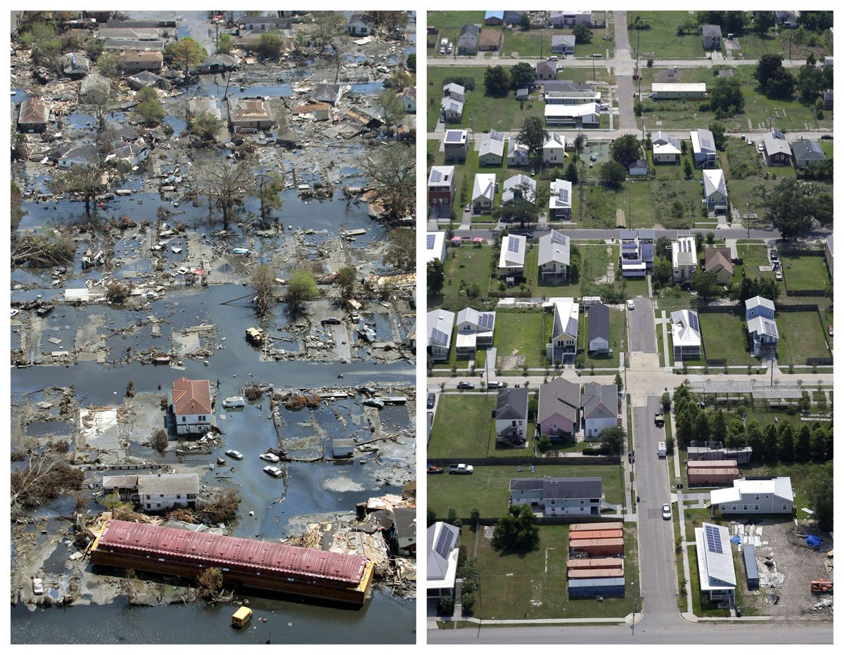 11 2005 And July 29 2015 Aerial Photos Show The Lower Ninth Ward Of New Orleans Flooded By Hurricane Katrina Picture New Orleans Hurricane Hurricane Katrina