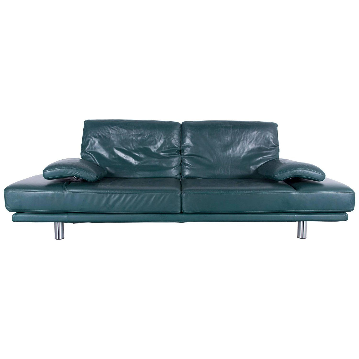 Rolf Benz 2400 Designer Sofa Green Two Seat Leather Modern Couch