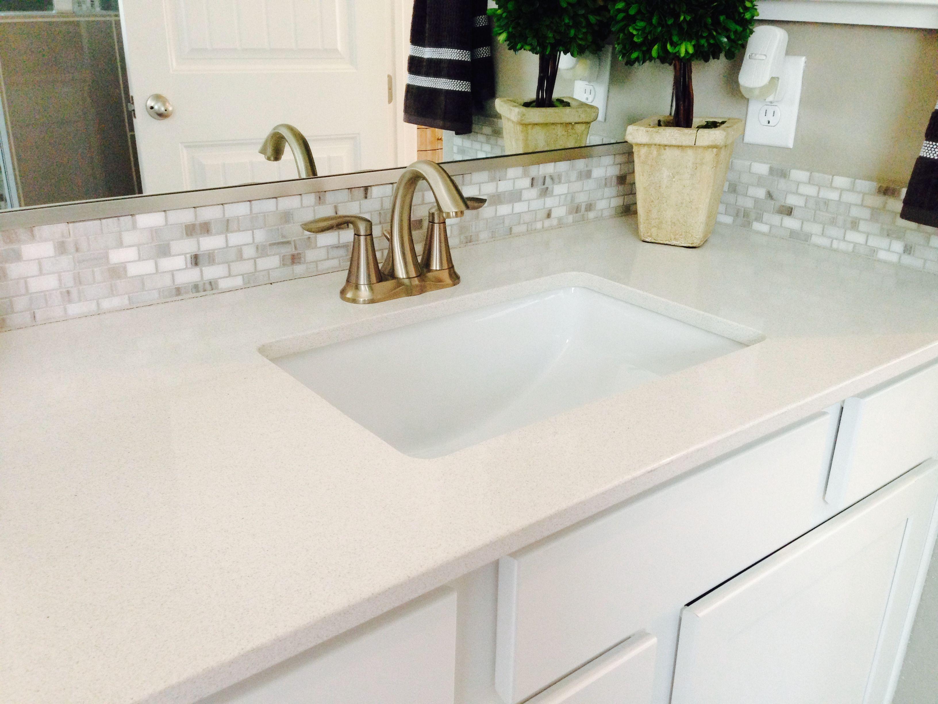 master bath vanity Silestone counter with decorative mosaic tile ...