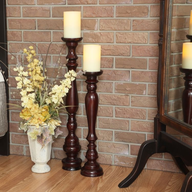 Natural Wood Like White Distressed 14 x 4 MDF Decorative Pillar Candle Holder Set 3