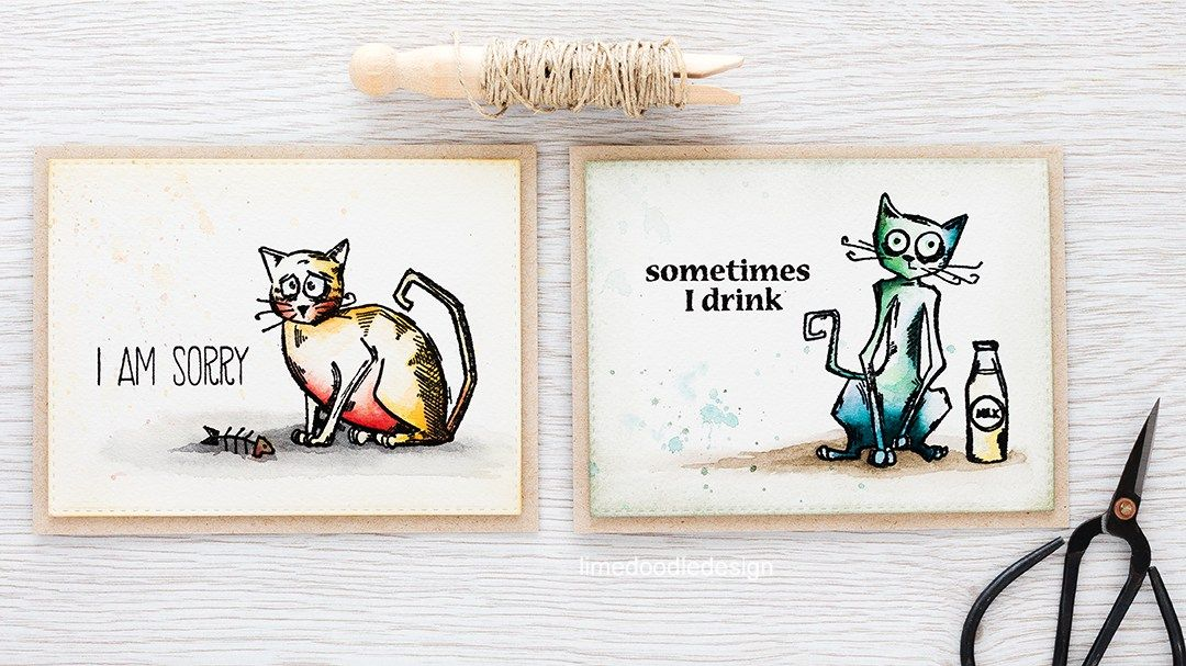 The Crazy Cats from Tim Holtz are so much fun! Find out more by clicking the following link: http://limedoodledesign.com/2016/02/crazy-cats/ cat greeting card