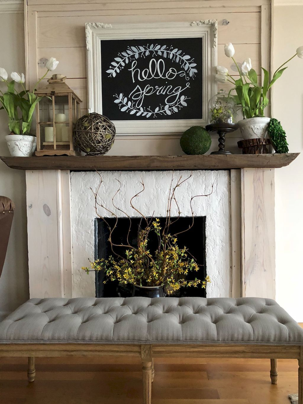 55 Awesome Spring Mantel Decorating Ideas images