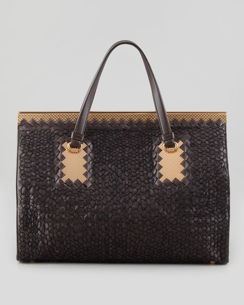 Bottega Veneta Intrecciato Leather   Woven Yarn Tote Bag  02d569f3b57c1