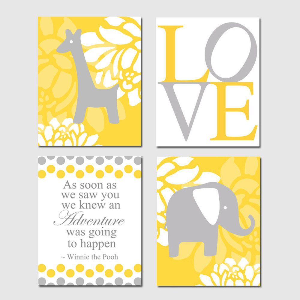 yellow and gray giraffe nursery art | Baby Stuff | Pinterest ...