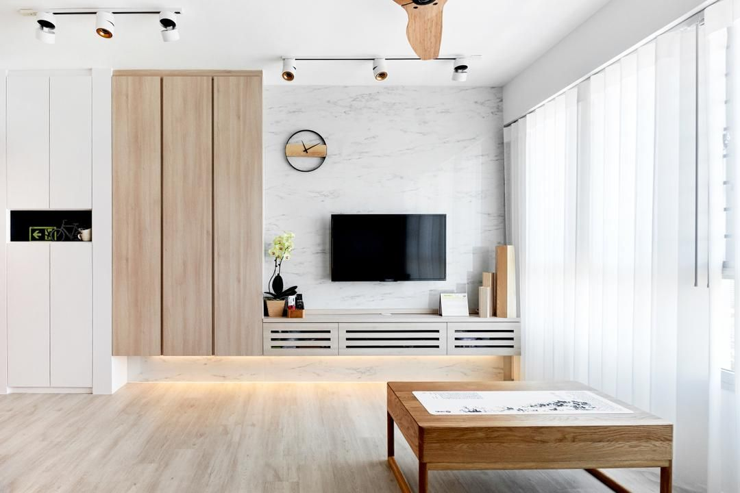 Check Out This Scandinavian Style Hdb Living Room And Other Similar Styles On Qanvast Feature Wall Living Room Living Room Scandinavian Living Room Tv Wall