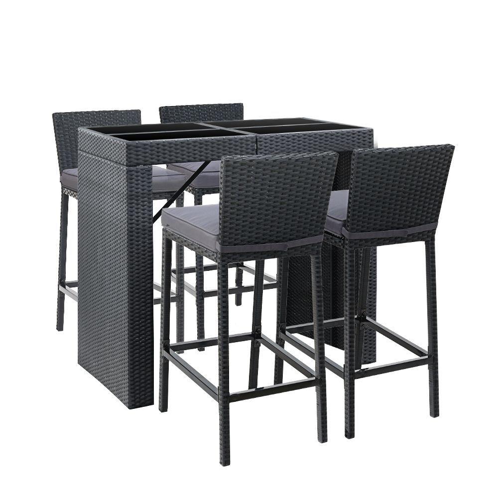Gardeon Outdoor Bar Set Table Chairs Stools Rattan Patio Furniture