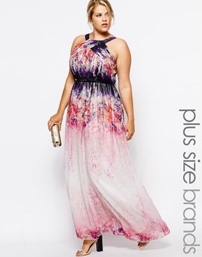 Little Mistress Plus Watercolour Print Maxi Dress Absolutely Love This Plus Size Wedding Guest Dresses Plus Size Maxi Dresses Occasion Dresses