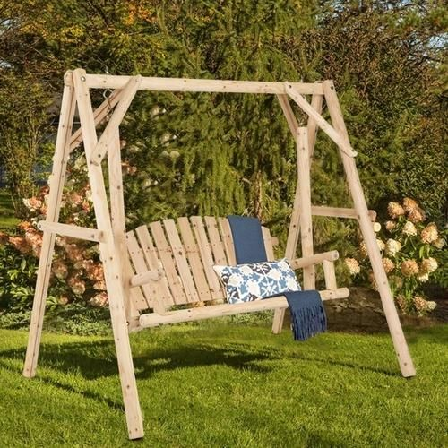 Rustic Wooden Porch Swing Bench W A Frame Wooden Porch Porch
