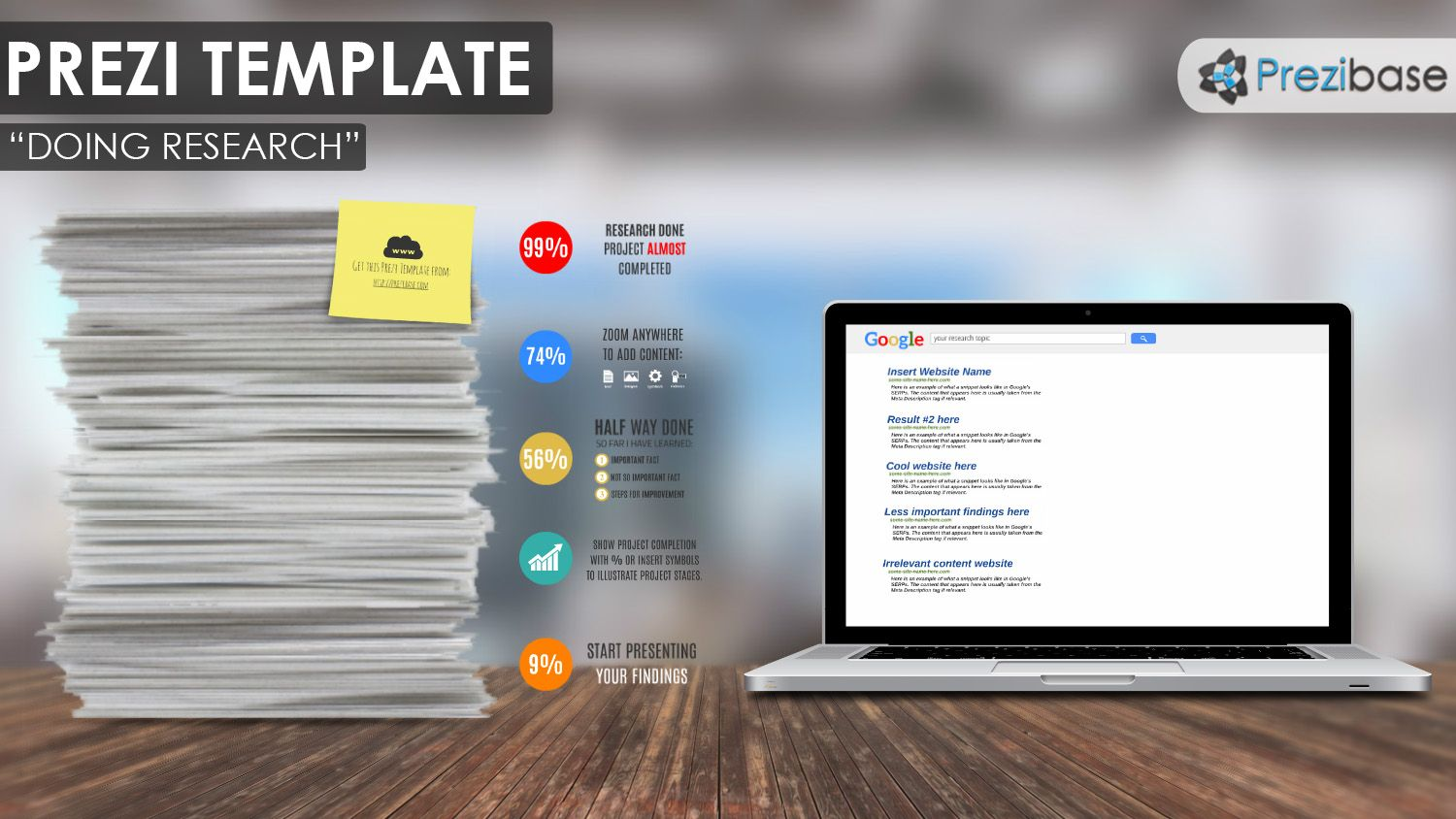 Olnine Research Paper Google Engine Laptop Paper Prezi Template