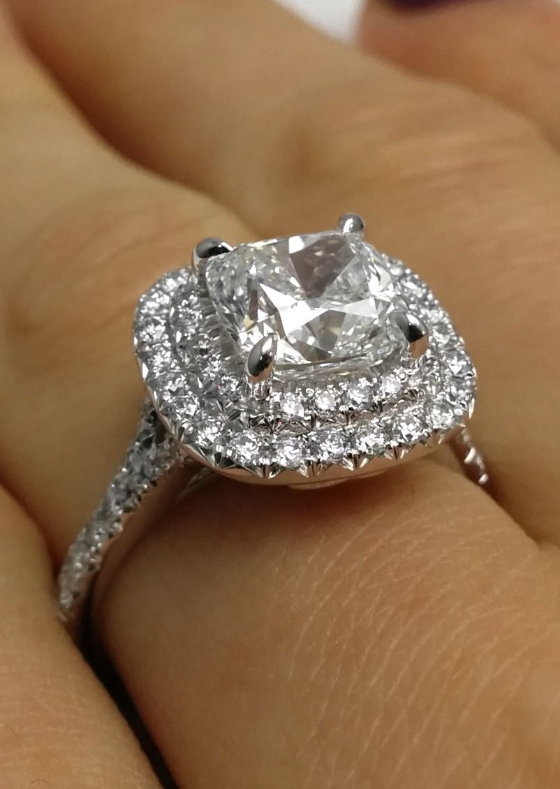 cushion diamond double halo pave engagement ring. Black Bedroom Furniture Sets. Home Design Ideas