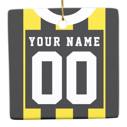 Soccer Football Rugby Jersey Name Number Template Ceramic Ornament - foot ball square template