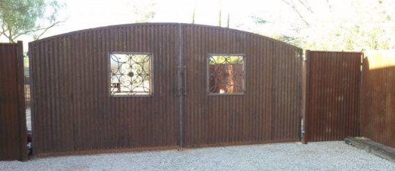 Corrugated Steel Gates Made In Tucson Diy Garden Fence