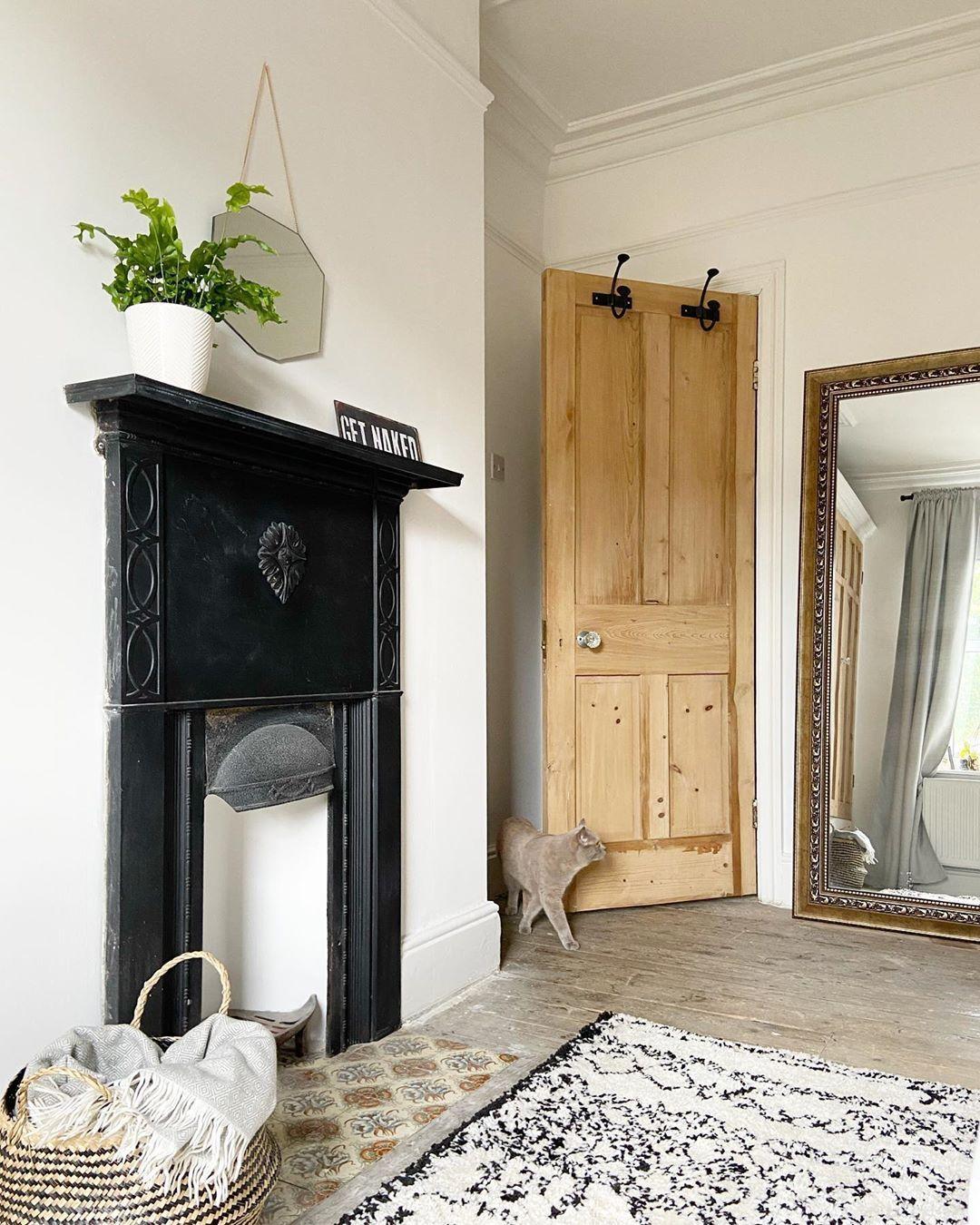 Featuring the cat... . . . . . . . . .  #bedroom #bedroomideas #bedroomdecor #originalfire #laredoute #rug #woodfloor #panelling #ikea #bedroominspo #lockdown #blackandwhite #homedesign #bedtime #oldhouse #wood #sheffield #bedroomdesign #bedroomgoals #diy #deco #inspo #homeinspo #lockdownrenovation #mirror #originaldoors #coving