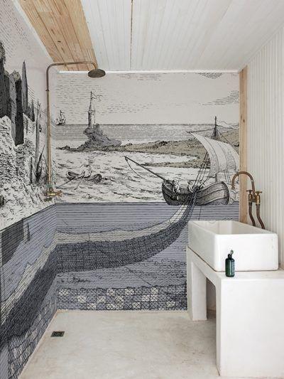 badezimmer renovieren mit tapete und ohne fliesen