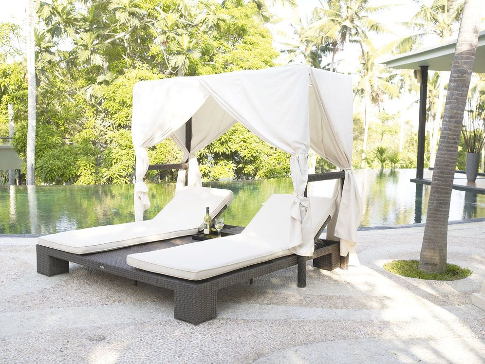 Outdoor Wicker Double Chaise Lounge Canopy 2934skyline 1 149 00 Luxury Patio Furniture Luxury Outdoor Furniture Wooden Patio Furniture