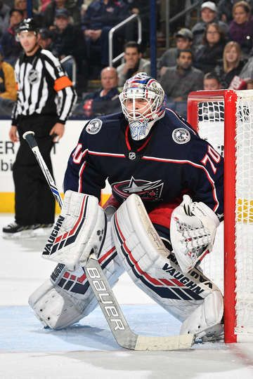 COLUMBUS, OH - OCTOBER 27: Goaltender Joonas Korpisalo #70 of the Columbus Blue Jackets defends the net against the Buffalo Sabres on October 27, 2018 at Nationwide Arena in Columbus, Ohio. (Photo by Jamie Sabau/NHLI via Getty Images)