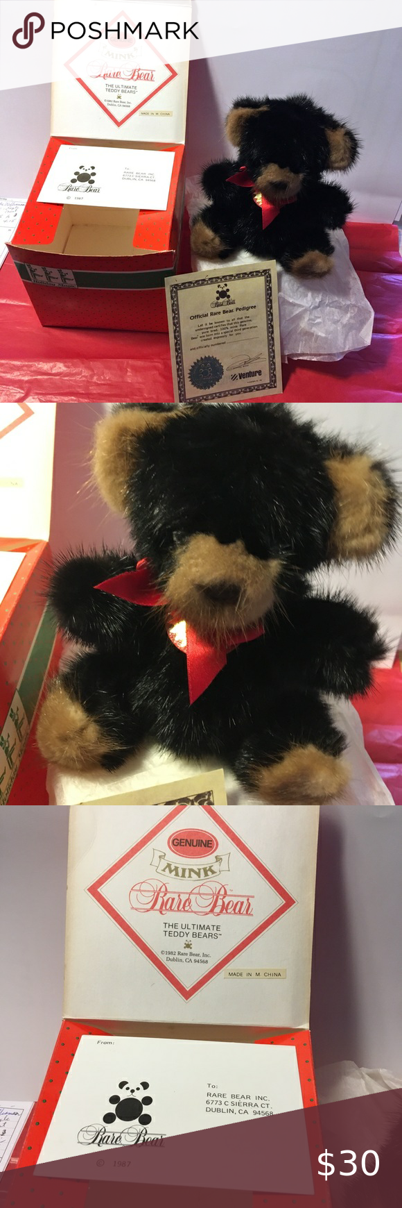 1982 Rare Bear Dublin California Genuine Mink Fur Teddy Bear