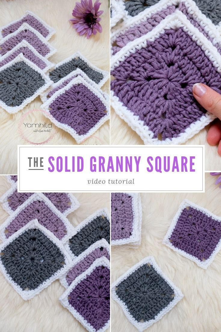 Solid granny square - How to crochet the solid granny square - Video