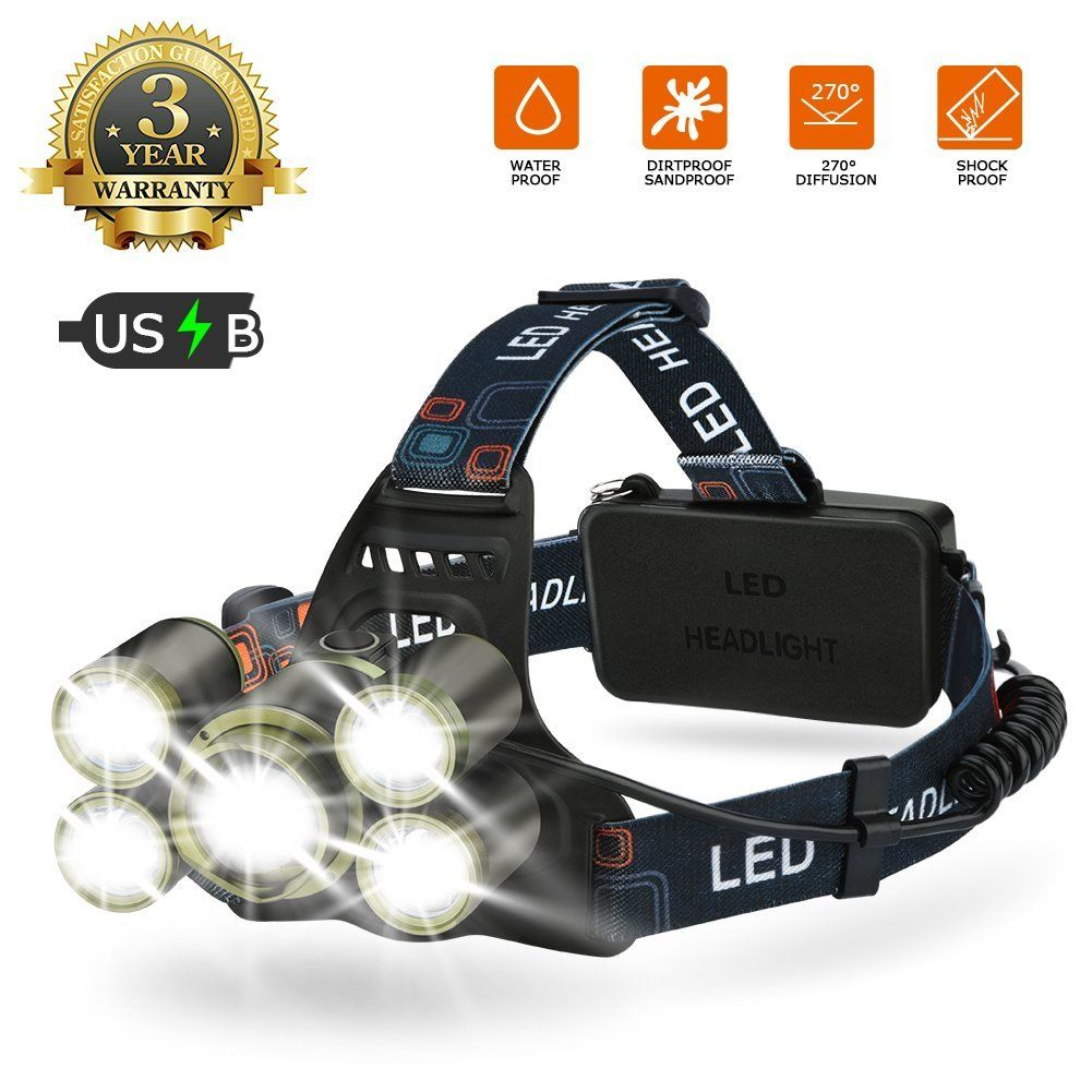 Lampe Frontale Led Usb Rechargeable Eecoo 6500k Ultra Lumineuse 4